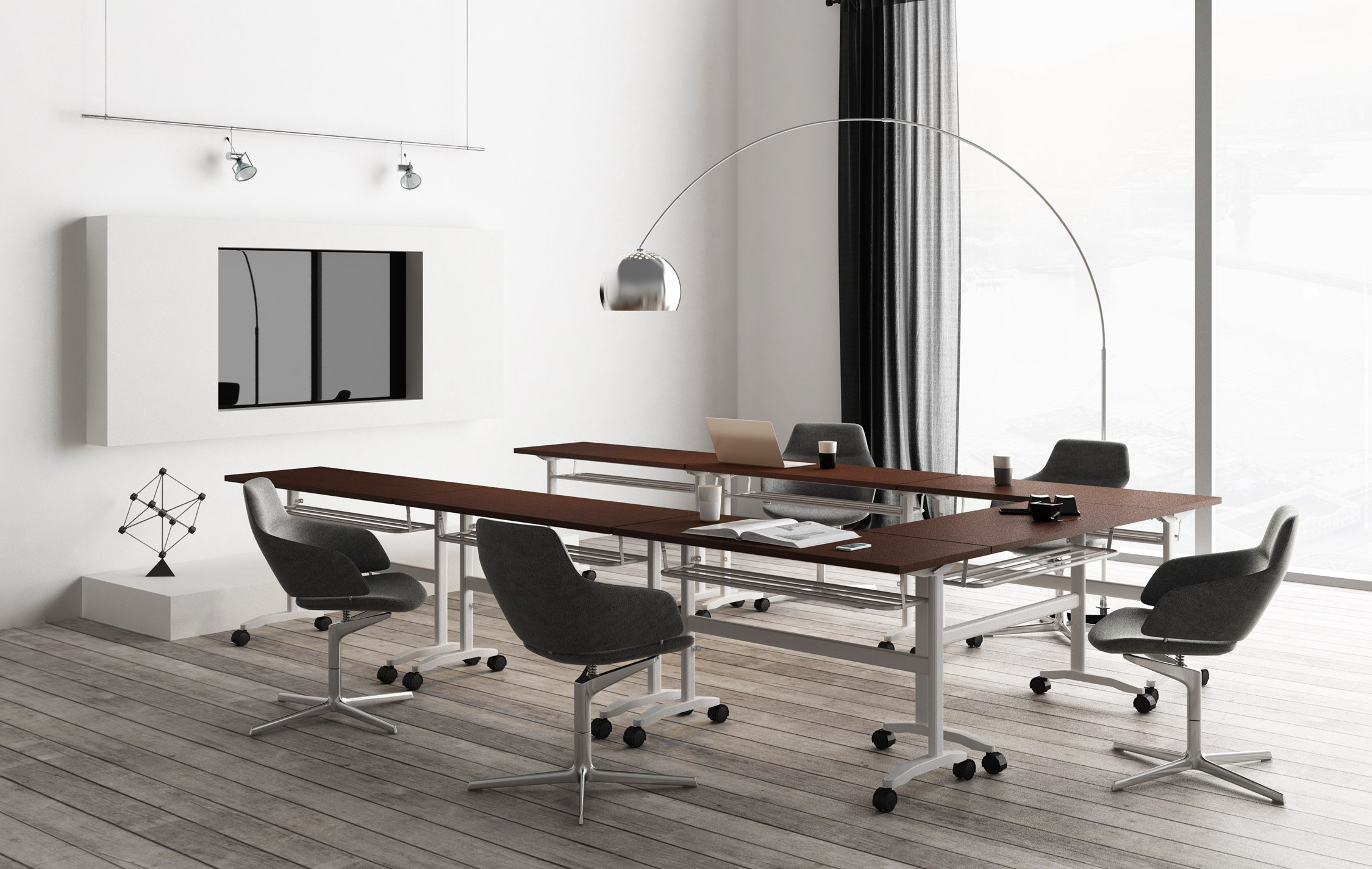 "title='<div align=""left""> 	<span style=""font-size:14px;"">Modern, flexible and rugged! The industrial-chic design of the steel table frame not only catches the eye, but the recessed center legs provide uninhibited user legspace, promoting collaboration, creative planning and teamwork.</span>  </div>'"
